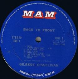 Gilbert O'sullivan - Back To Front