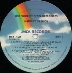 Marlene Dietrich - Her Complete Decca Recordings